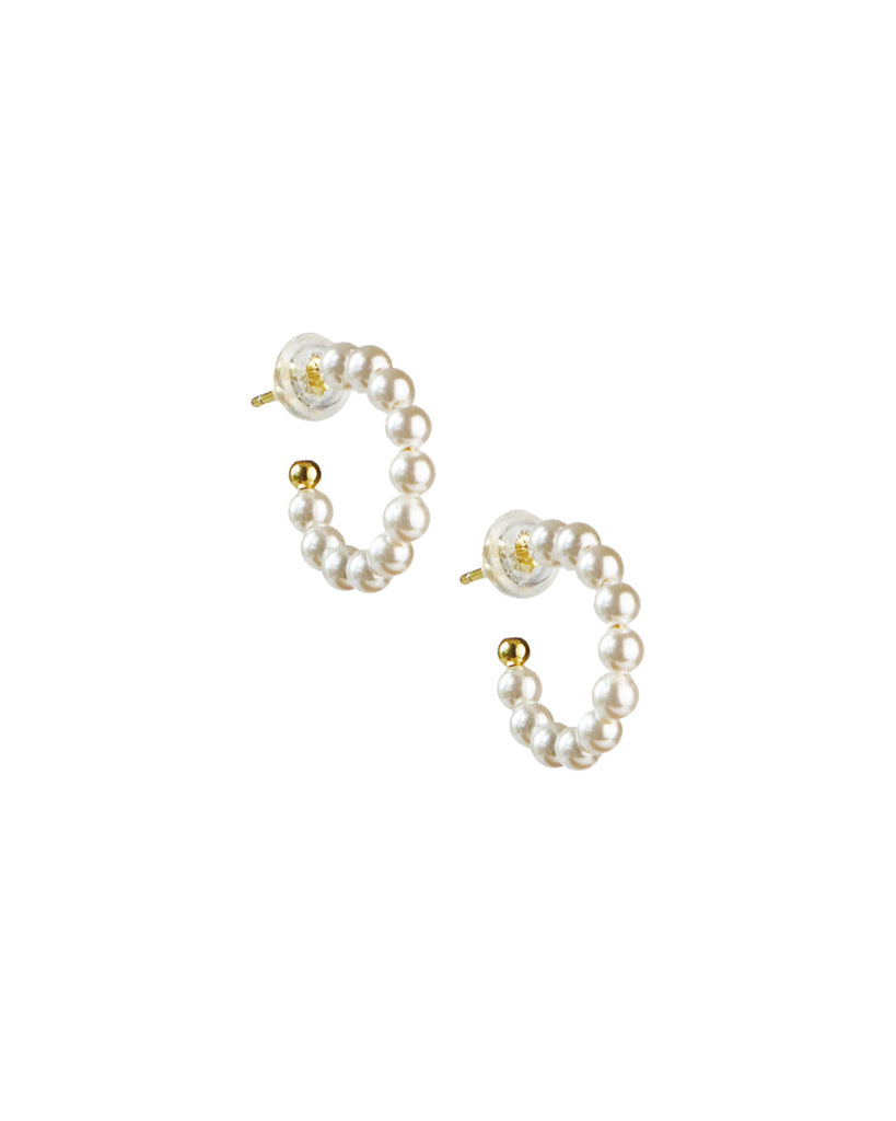 Sierra「18K Gold Vermeil Mini Pearl Hoops」
