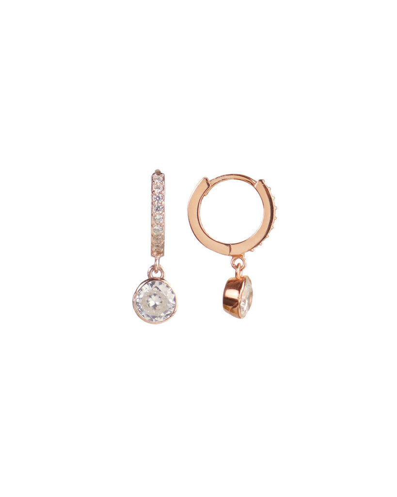 Paris Crystal「18K Rose Vermeil Huggies」