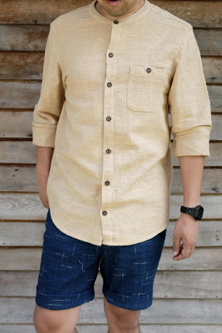 Mandarin Collar Long Sleeve Shirt