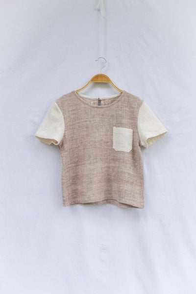 Two-Tone Cropped Top with Pocket