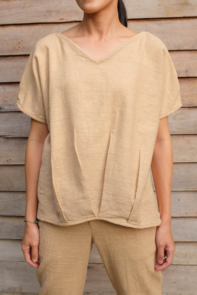 V Neck Balloon Blouse (Plain)