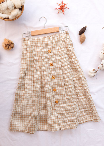Crepe Skirt w/ Front Button