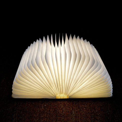Wood Book Lamp - USB Rechargable, Built-in Li-Battery!
