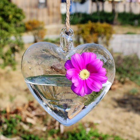 Heart Glass Hanging Planter