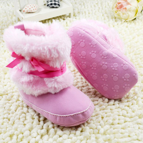 Fleece Bowknot Baby Boots