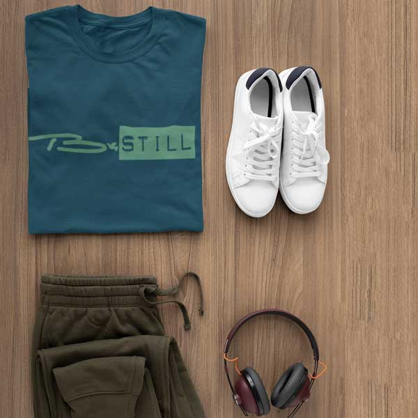Flat lay of a navy B-STILL Christian t-shirt from Glor-e