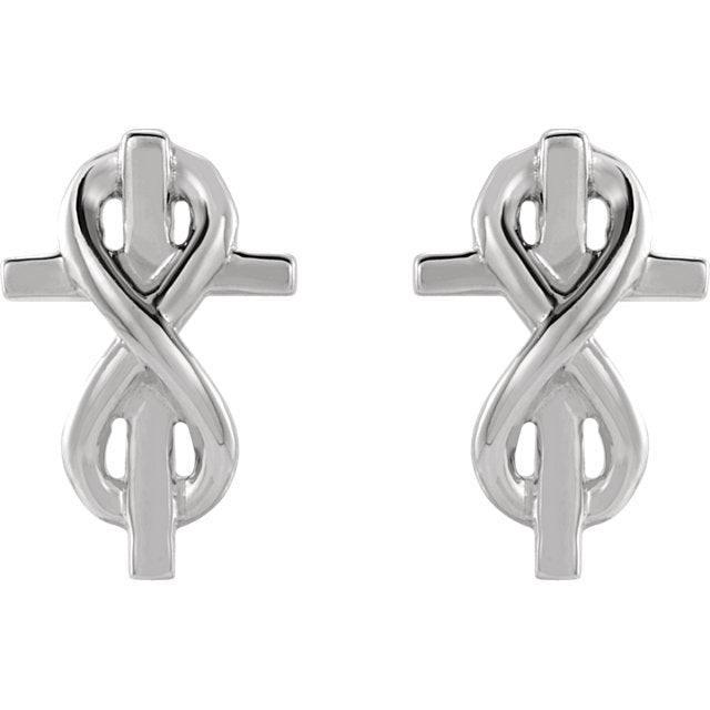 Front view of sterling silver Infinity-Inspired Cross Christian Earrings