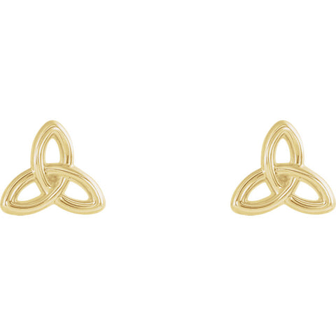Front view of yellow gold Trinity Christian Earrings For Women