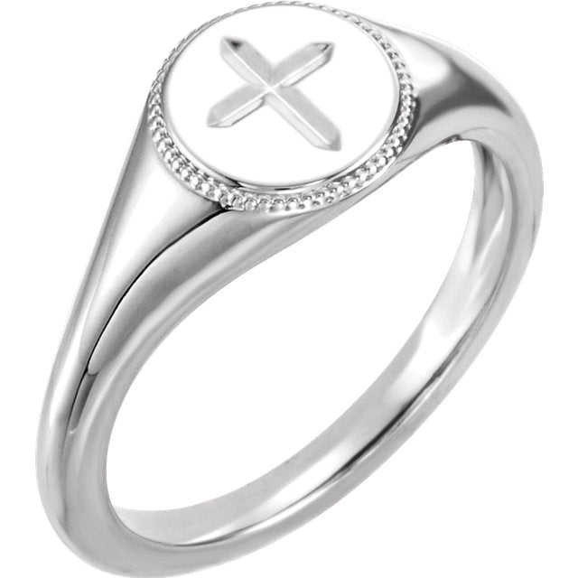 Engraved Cross Christian Ring For Women
