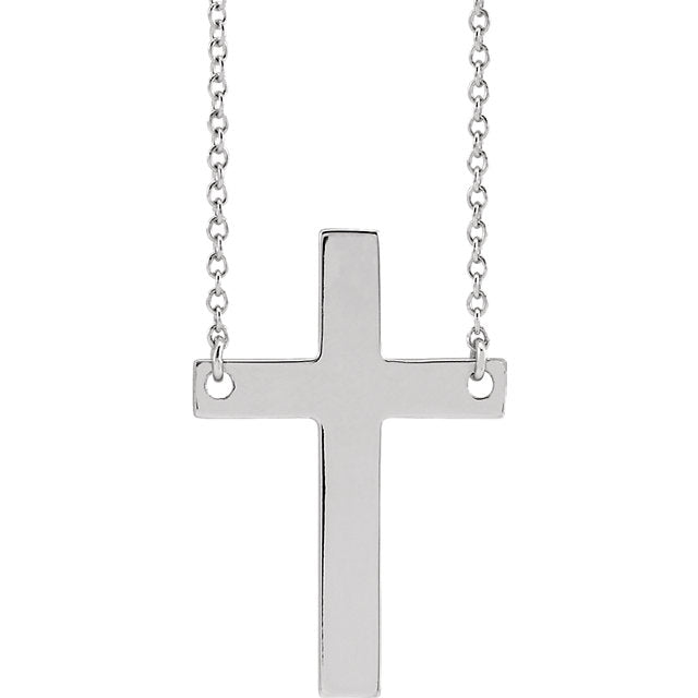 Front view of sterling silver Main Cross Christian Necklace