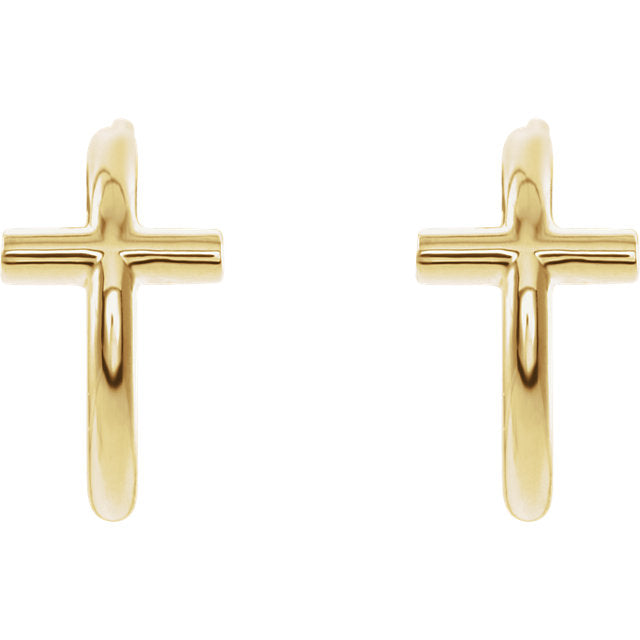 Front view of yellow gold Cross J-Hoop Christian Earrings