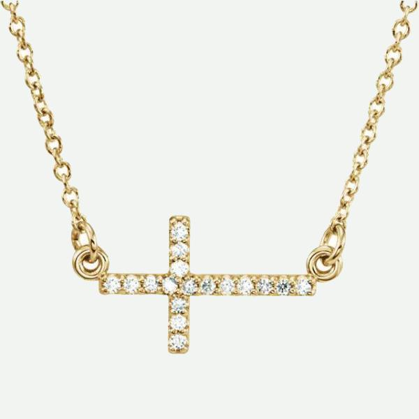 Front view of 14K Yellow Gold Accented Sideways Cross Christian Necklace For Women | Glor-e