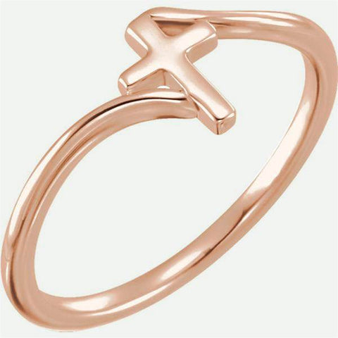 Front view of BYPASS 14k rose gold Christian ring from Glor-e