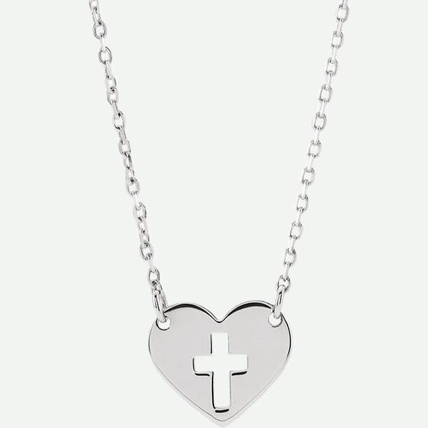 Front view of 14K White Gold Cross Hearted Christian Necklace | Glor-e