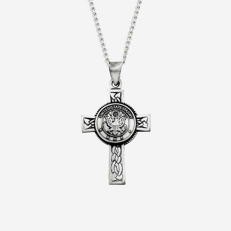 Front view of US Army Unisex Christian necklace sterling silver