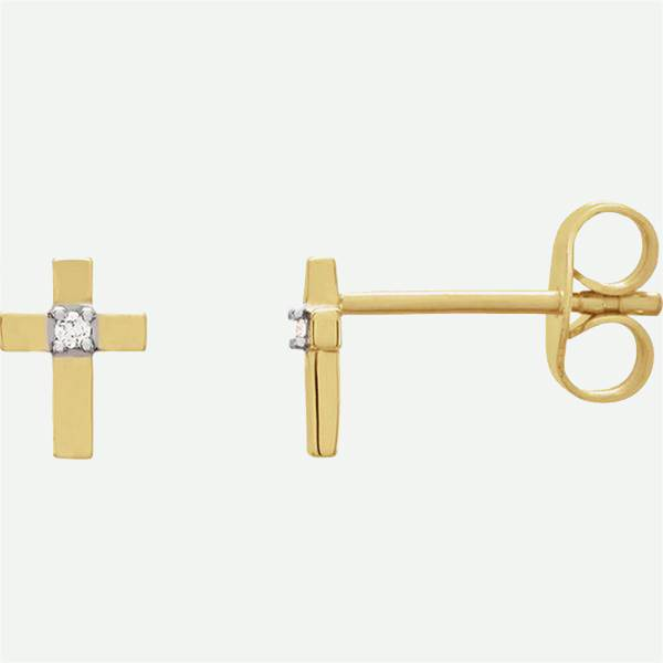Front and side views of 14k yellow gold CROSS Christian earrings from Glor-e