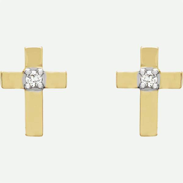 Front view of 14k yellow gold CROSS Christian earrings from Glor-e