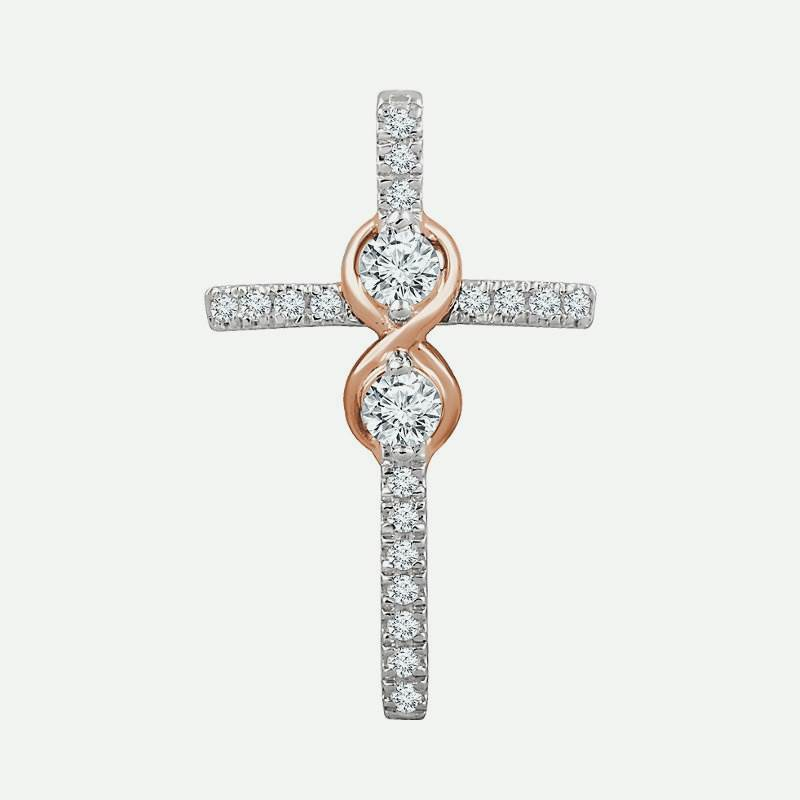Front view of Accented Infinity-Inspired Diamond Cross Christian Pendant