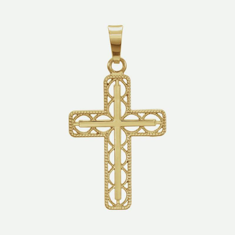 Front view of Milgrain Cross Christian Pendant