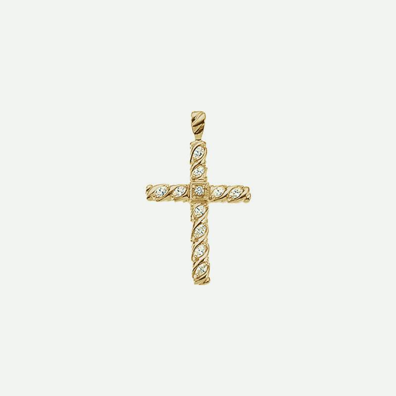 Front view of Yellow Gold Diamond Cross Christian Pendant for women