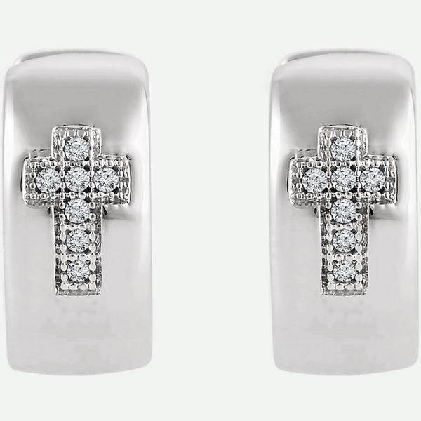 Front view of Diamond Cross Christian Hoop Earrings from Glor-e