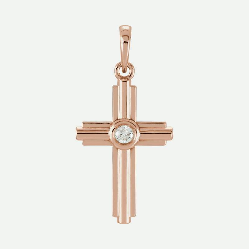 Front view of rose gold Diamond Cross Christian Pendant For Women
