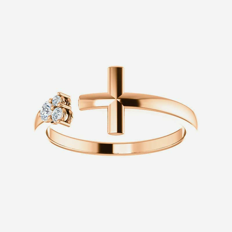 Front view of rose gold Negative Space Cross Christian ring for women