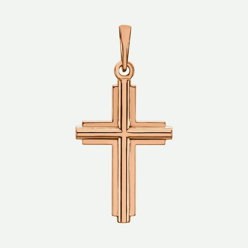 Front view of rose gold Pure Cross Unisex Christian Pendant