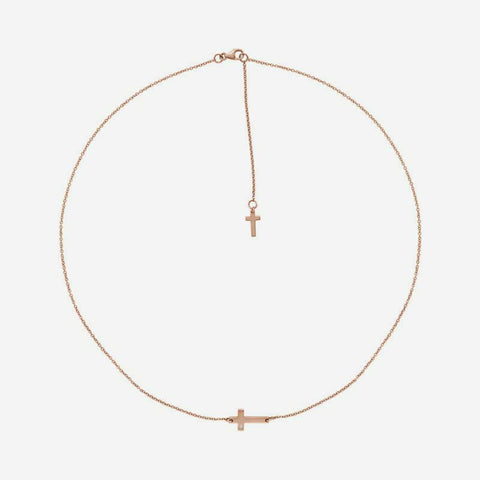 Top view of rose gold Sideways Cross Christian necklace for women