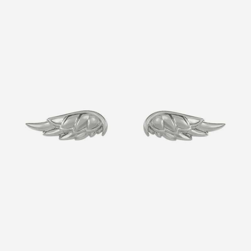 Front view of sterling silver Angel Wings Christian earrings for women