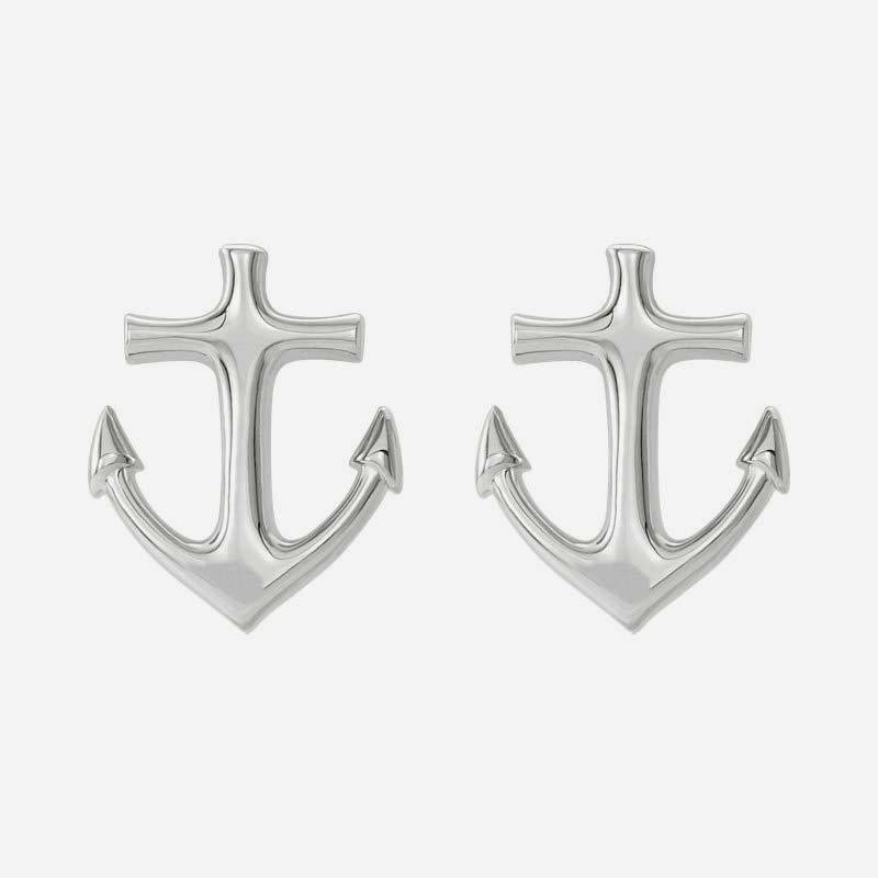 Front view of sterling silver Anchor Christian earrings for women