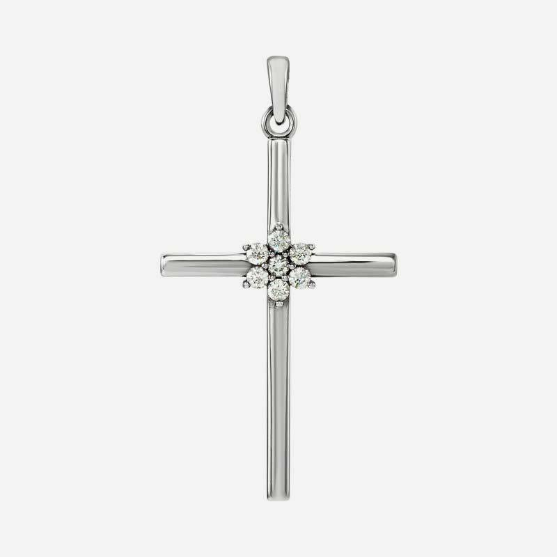 Front view of white gold Diamond Centered Cross Christian Pendant For Women