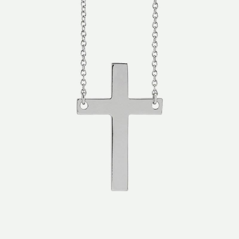 Front view of white gold Main Cross Christian Necklace
