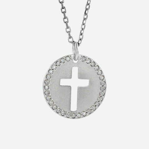 Front view of white gold Pierced Cross Christian Necklace For Women