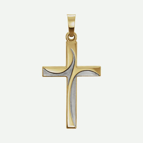 Front view of Yellow Cross Unisex Christian Pendant