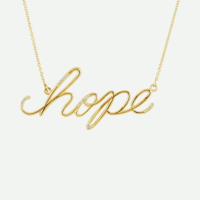 "Front view of yellow gold Diamond ""Hope"" Christian Necklace"