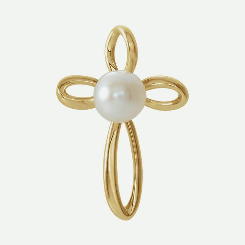 Front view of yellow gold Pearl Cross Christian Pendant For Women