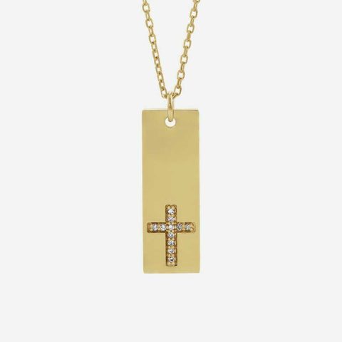 Front view of yellow gold Vertical Bar Cross Christian Necklace for women