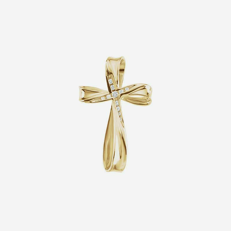 Front view of Yellow Gold Cross Christian Pendant for women