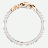 Infinity Cross White and Rose Gold Christian Ring From Glor-e Front View