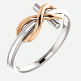 Infinity Cross White and Rose Gold Christian Ring From Glor-e Oblique View