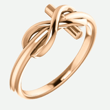 Infinity Cross Rose Gold Christian Ring From Glor-e Oblique View