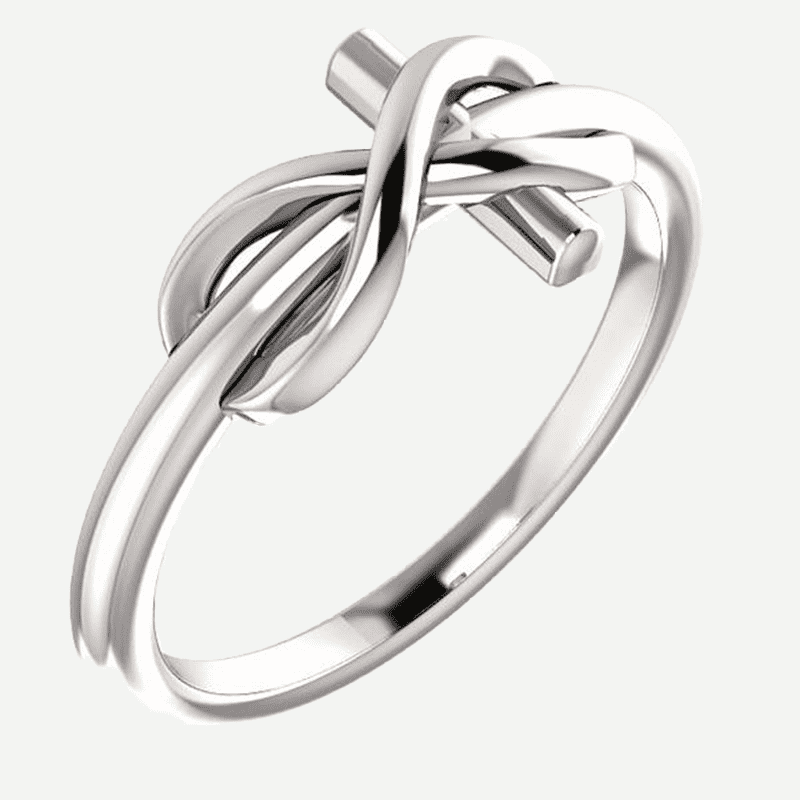 Infinity Cross White Gold Christian Ring From Glor-e Oblique View