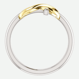 Infinity Cross White and Yellow Gold Christian Ring From Glor-e Front View