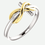 Infinity Cross White and Yellow Gold Christian Ring From Glor-e Oblique View