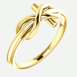Infinity Cross Yellow Gold Christian Ring From Glor-e Oblique View