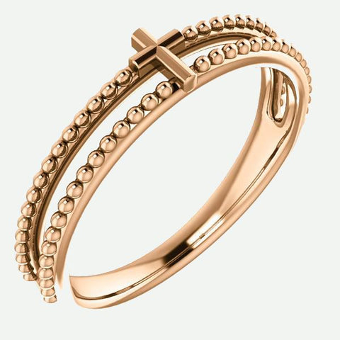 Front view of 14K Rose Gold Milgrain Cross Christian Ring For Women | Glor-e