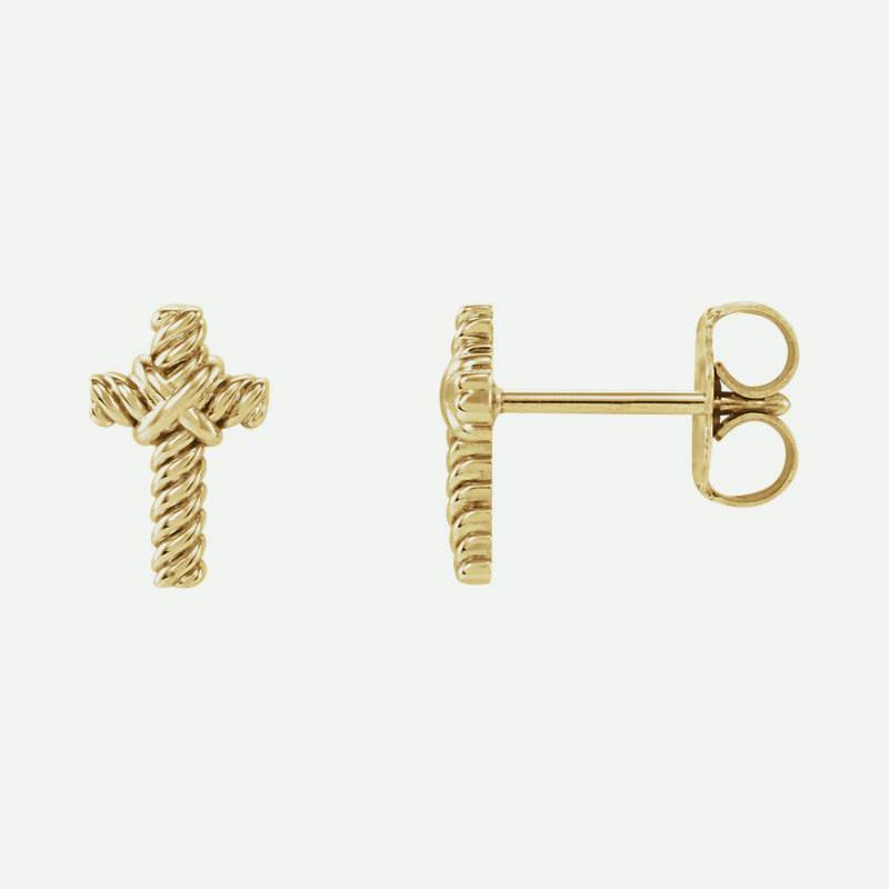 Front And Side Views Of Rope Cross Yellow Gold Christian Earrings For Women From Glor-e
