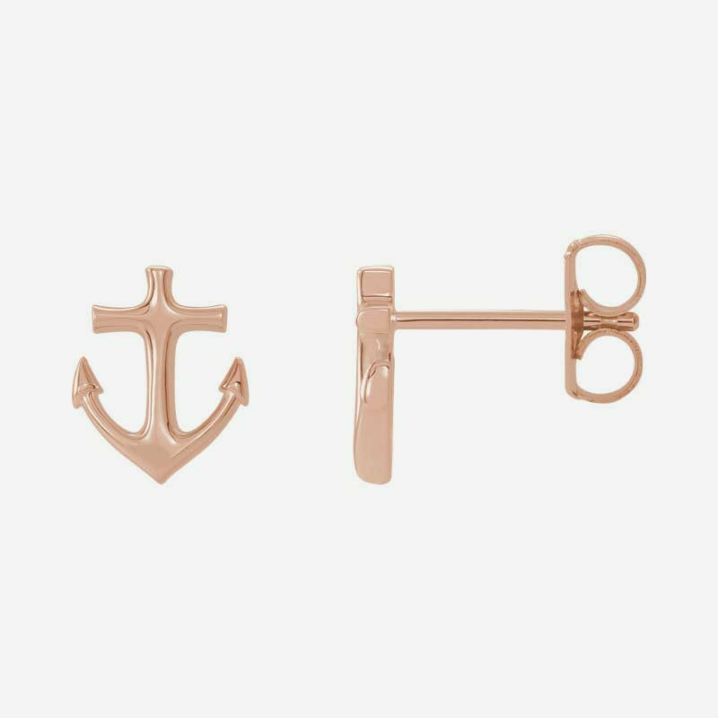 Mixed view of rose gold Anchor Christian earrings for women