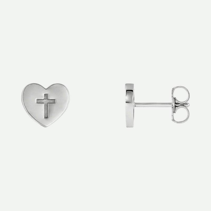 Mixed view of white gold Heart & Cross Christian Earrings For Women